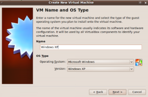 the third step during installing Windows XP on Virtualbox
